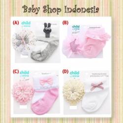 C215 Set Kaos Kaki Bayi Perempuan Import dan Bandana Bayi Perempuan Mix Motif  large