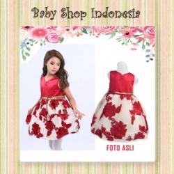 Dress Anak Red Flower Skirt  large
