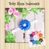 H093 Bandana Ribbon Flower Pearl 25 biru tua  medium