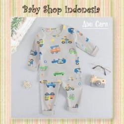 LU662 Piyama Anak Import Baju Tidur Anak Lengan Panjang Grey Cars  large
