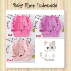 PK173 Baju Anak Perempuan Lengan Panjang Sweater Kaos Anak Lengan Panjang Ribbon Kitty  large