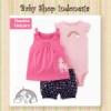 PU599 Setelan Baju Bayi Import 3in1 Jumpsuit Bayi Tshirt Anak Branded Fuschia Unicorn  medium