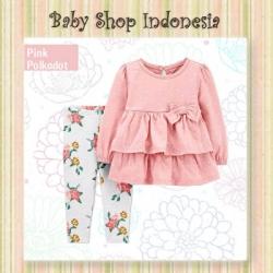 PU601 Setelan Baju Bayi Import Baju Bayi Perempuan Lengan Panjang Pink Polkadot  large
