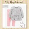 PU602 Setelan Baju Bayi Import Baju Bayi Perempuan Lengan Panjang Abu Polkadot  medium