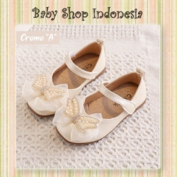 S1018 Sepatu Pesta Bayi Perempuan Import Sepatu Anak Perempuan Cantik Mary Jane Pearl Diamond Bow Creme  large