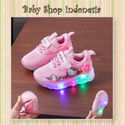 S1020 Sepatu Lampu Anak Perempuan Sepatu LED Anak Pink HK  large