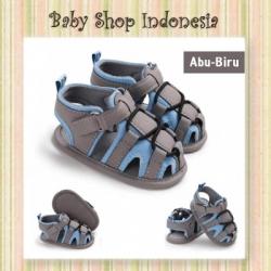 S1025 Sepatu Sandal Bayi Prewalker Bayi Import Grey Blue String  large