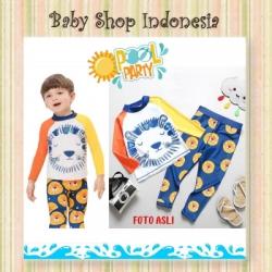W076 Baju Renang Anak Cowok Setelan Import Setelan Baju Renang Anak Lengan Panjang Baju Renang Anak Lion  large