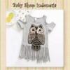 blouse grey owl  medium