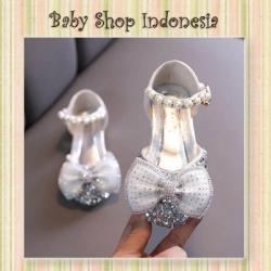 d S1026 Sepatu Pesta Anak Silver Sepatu Sandal Anak Import Glamour Silver Bow  large