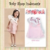dress pink putih baru  medium